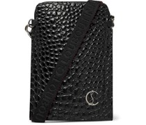 Croc-Effect Patent-Leather Pouch