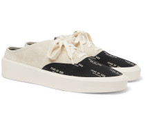 101 Suede and Logo-Print Canvas Backless Sneakers