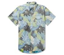 Button-Down Collar Printed Cotton-Poplin Half-Placket Shirt