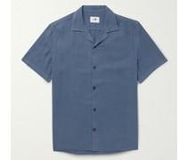 Miyagi Camp-Collar Garment-Dyed Lyocell and Linen-Blend Shirt