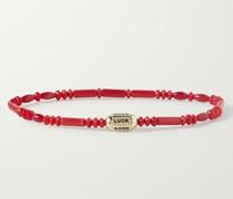 14-Karat Gold Malachite Beaded Bracelet