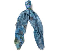 Printed Modal and Linen-Blend Scarf