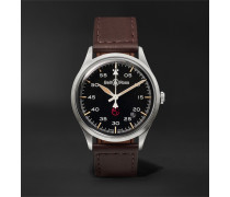 BR V1-92 Military Automatic 38.5mm Stainless Steel and Leather Watch, Ref. No. BRV192-MIL-ST/SCA