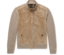 Suede-panelled Cashmere And Linen-blend Jacket