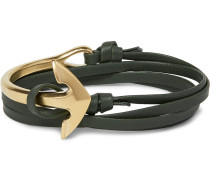 Leather And Gold-plated Anchor Wrap Bracelet
