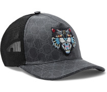 Angry Cat Appliquéd Coated-canvas And Mesh Baseball Cap