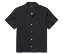 Woodblock Canty Camp-collar Printed Voile Shirt