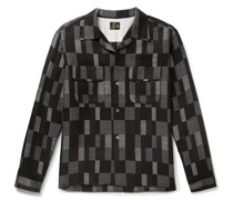 Camp-Collar Patchwork Checked Wool-Blend Jacquard Overshirt
