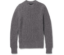 Slim-fit Ribbed Mélange Cashmere And Wool-blend Sweater