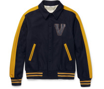 Leather-appliquéd Felted Wool-blend Varsity Jacket