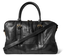 Canvas-trimmed Leather Holdall