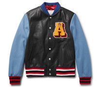 Appliquéd Leather And Wool Bomber Jacket