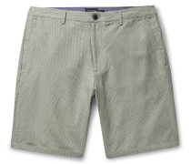 Maddox Pinstriped Linen and Cotton-Blend Shorts