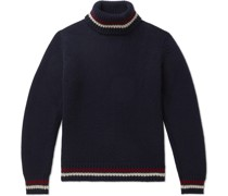 Slim-Fit Striped-Trimmed Wool and Cashmere-Blend Rollneck Sweater