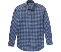Slim-fit Gingham Brushed-cotton Shirt