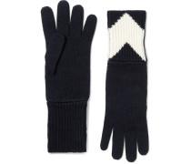 Ribbed Chevron Intarsia Wool Gloves