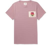 Slim-fit Appliquéd Distressed Cotton-jersey T-shirt