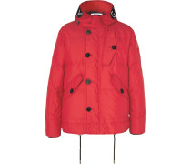 Embroidered Velcro-trimmed Padded Shell Down Hooded Jacket