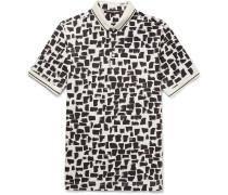 Slim-fit Printed Cotton-piqué Polo Shirt