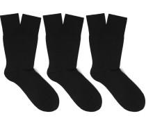 Three-pack Airport Virgin Wool-blend Socks