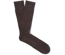 Marl Mercerised Stretch Cotton-blend Socks