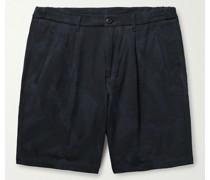 Bowery Pleated Stretch-Cotton Seersucker Bermuda Shorts