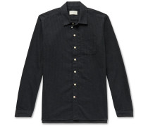 Slim-Fit Striped Flocked Cotton-Blend Shirt