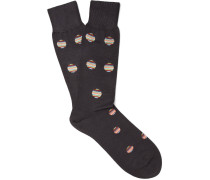 Polka-dot Mercerised Cotton-blend Socks