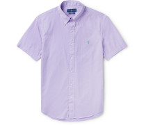 Slim-fit Garment-dyed Button-down Collar Cotton-twill Shirt - Purple