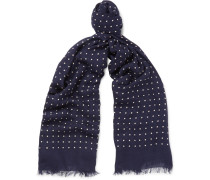 + Drake's Polka-dot Modal And Cashmere-blend Scarf