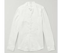 Kos Grandad-Collar Garment-Dyed Linen Half-Placket Shirt