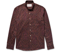 Slim-fit Paisley-print Cotton-flannel Shirt