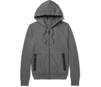 Slim-fit Fleece-back Cotton And Wool-blend Jersey Zip-up Hoodie