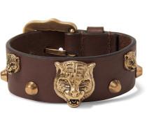 Studded Leather And Burnished Gold-tone Bracelet