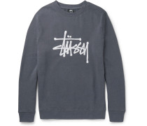 Embroidered Fleece-back Cotton-blend Jersey Sweatshirt