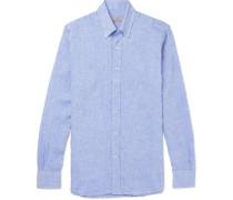 Button-down Collar Slub Linen Shirt