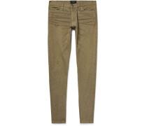 Skinny-fit Zip-detailed Paint-splattered Selvedge Denim Jeans