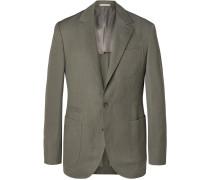 Grey-green Solaro Herringbone Wool And Linen-blend Blazer - Green