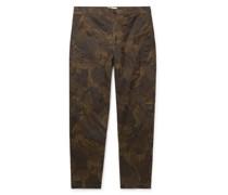 Judo Tapered Camouflage-Print Herringbone Cotton-Twill Cargo Trousers