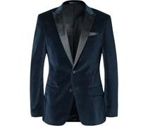 Blue Hayford Slim-Fit Satin-Trimmed Velvet Tuxedo Jacket