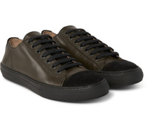 Cap-toe Leather And Suede Sneakers
