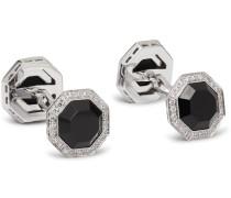 18-Karat White Gold, Onyx and Diamond Cufflinks