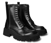 Tractor Logo-Debossed Leather Boots