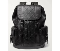 Logo-Embossed Leather Backpack