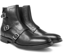 Full-grain Leather Monk-strap Biker Boots