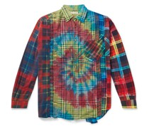 Patchwork Tie-Dyed Checked Cotton-Flannel Shirt