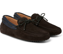 Gommino Leather-trimmed Suede Driving Shoes