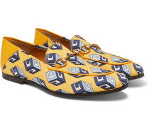 Brixton Horsebit Leather-trimmed Printed-satin Loafers