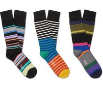 Three-Pack Striped Stretch-Cotton Blend Socks