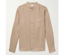 Pat Grandad-Collar Slub Linen Shirt